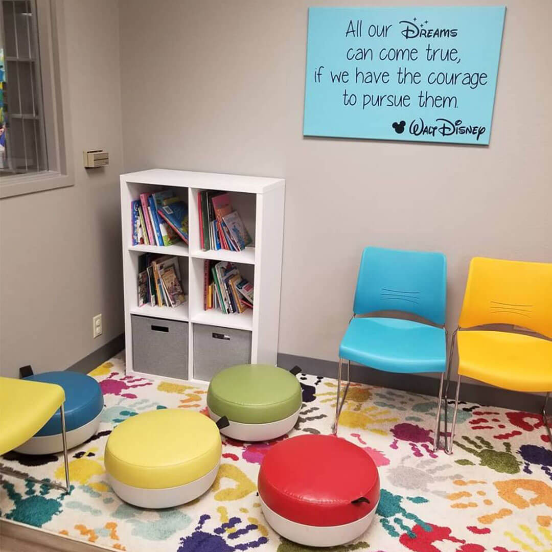 Children's waiting area with books.